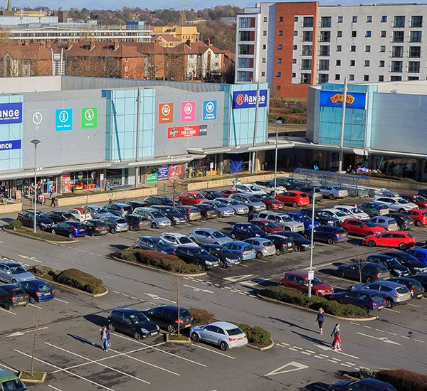 Birds eye view of the car park at West One Retail Park