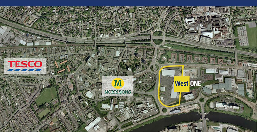 location of west one retail park, eccles