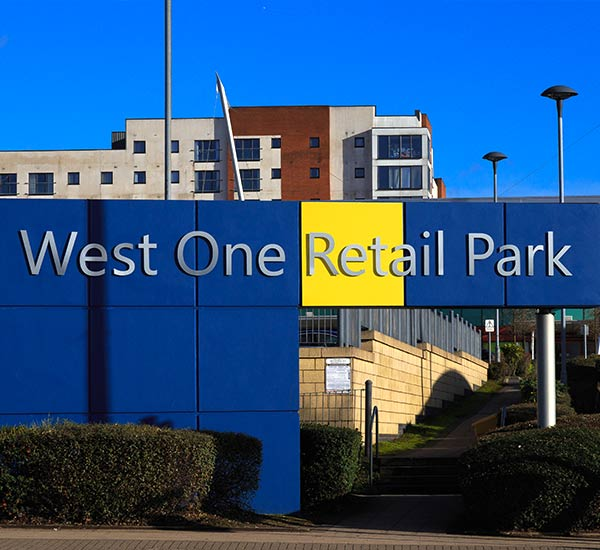 west one retail park sign